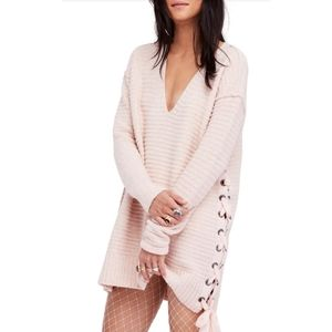 Free People  Blush Side Tie Sweater